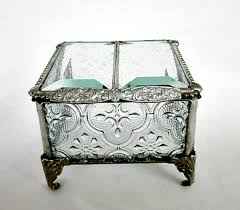 Wedding Gift Jewelry Silver Vintage Inspired Stained Glass Jewelry Box Ring Bearer