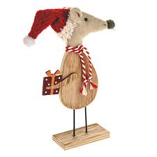 Christmas Mice Decorations Wooden Standing Mice Christmas Xmas Novelty Decorations Choose