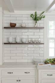 dark stained wood floating kitchen shelves design ideas