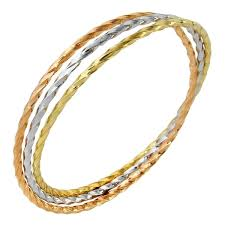 color bangle bracelet images 14k tri color gold set of 3 twist slip on bangle bracelet free jpg