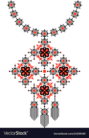 ethnic necklace design images Ethnic necklace embroidery pixel tribal design vector image jpg