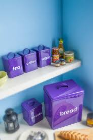 Purple Kitchen Canisters Black Purple Tea Coffee Sugar Canisters Bread Bin 5 Piece Kitchen