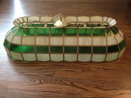 lighting fixtures stained glass green white hanging pool table