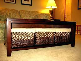 coffee table with baskets under under coffee table storage baskets large size of end table with