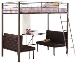TwinSize Metal Bunk Loft Bed With Adjustable Seat Desk And - Metal bunk bed with desk