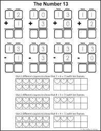 number bonds to 13 free math worksheets learning numbers number