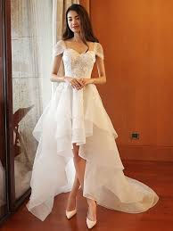 high low wedding dress sweetheart appliques beading high low wedding dress tbdress