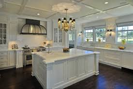 home trends antique white cabinets with dark hardwood floors