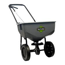 shop sta green 32 lb broadcast spreader at lowes com