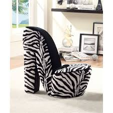Zebra Accent Chair Furniture Of America Starlet Flannelette Heel Accent Chair In