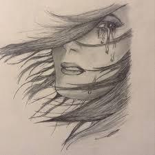 drawn tears sad woman pencil and in color drawn tears sad woman