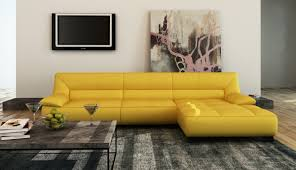 Modern Yellow Sofa Divani Casa 5121b Modern Yellow Italian Leather Sectional Sofa