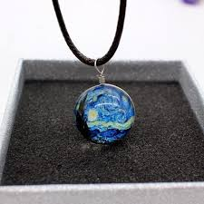 pattern crystal necklace images Glass ball planet crystal galaxy pattern leather necklace 15 jpg