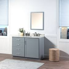 White On White Bathroom by Maykke Sterling 48 Inch Bathroom Vanity Cabinet In Birch Wood