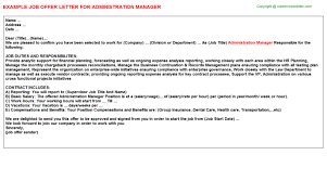 administration manager offer letter