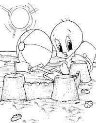 tweety beach looney tunes coloring pages bulk color