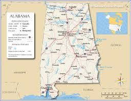 United States Map With Rivers Lakes And Mountains by Reference Map Of Alabama Usa Nations Online Project