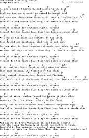 Bonnie Flag Song Lyrics With Guitar Chords For The Bonnie Blue Flag