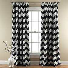 Black And Gray Curtains Lush Decor Chevron Room Darkening Window Curtain Panel