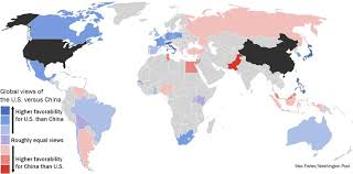 Global Map Of The World by A Revealing Map Of How The World Views China Vs The U S The