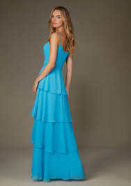 chiffon morilee bridesmaid dress with spaghetti straps layered