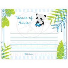 tropical panda baby shower words of advice cards blue and green