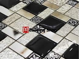 black white glass mosaic kitchen wall tiles backsplash rnmt100