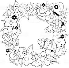 flower wreath coloring book page stock vector art 512213998 istock