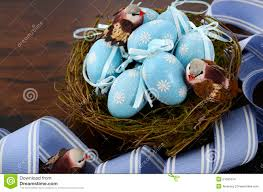 Easter Egg Nest Decorations by Easter Blue Decoration Eggs In Birds Nest Stock Photo Image