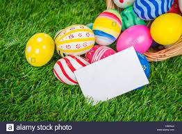 easter eggs sale easter eggs sale coupon voucher tag on fresh green grass stock
