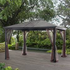 Sunjoy Tiki Gazebo by Grand Resort Sunland Park 10 U2032 X 12 U2032 Steel Roof Gazebo With Netting