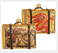 china travel suitcase blown glass ornament