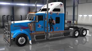 new kenworth w900 kenworth w900 captain america american truck simulator mods