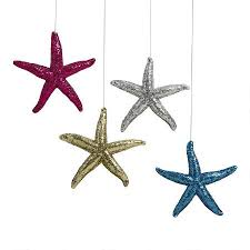 glitter starfish ornaments set of 5 tree shops andthat