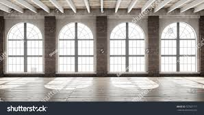 large empty room loft style big stock illustration 727027117