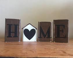 Mantel Bookshelf Home Sweet Home Wood Blocks Wood Sign Home Decor Fireplace