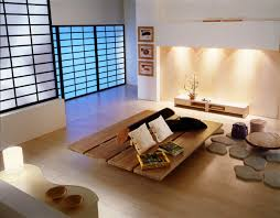 furniture modern japanese living room with rectangle brown wood