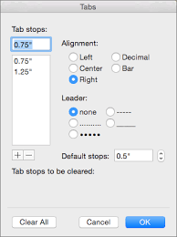 clear tabs in a word 2016 for mac document word for mac