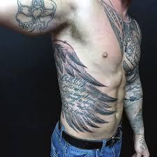 Mens Rib - rib cage side wings tattoos for rib tattoos for guys