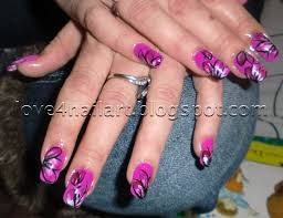 love4nailart purple pink flower nail art