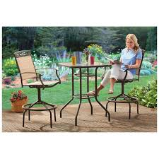 bar height patio set with swivel chairs 17382