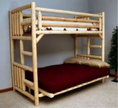 this log futon bunk bed is perfect for areas with limited space