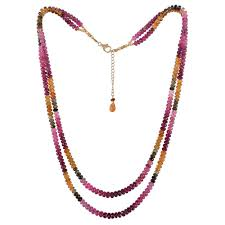 gemstone beads necklace images Multi tourmaline beaded two strand necklace buy now jpg