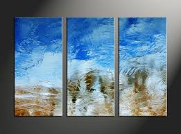 Contemporary Art Home Decor 3 Piece Abstract Blue Canvas Wall Art