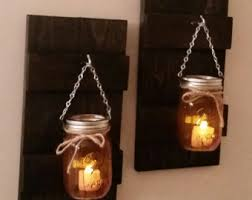 Jar Candle Wall Sconce Rustic Wood Wall Sconce With Ball Mason Jar Candle Holder With
