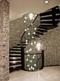 spiral staircase and multiple ceiling lighting decorating ideas