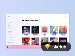 windows 10 project neon groove music ui freebie download sketch