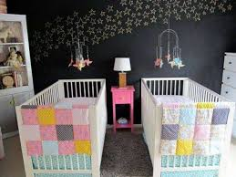 Bedroom With Stars Twin Baby Bedrooms With Stars Wall Decal And White Double Cribs