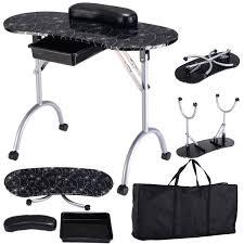 amazon com giantex portable manicure nail table station desk spa