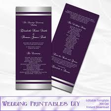 purple wedding programs purple and silver wedding program template silver foil